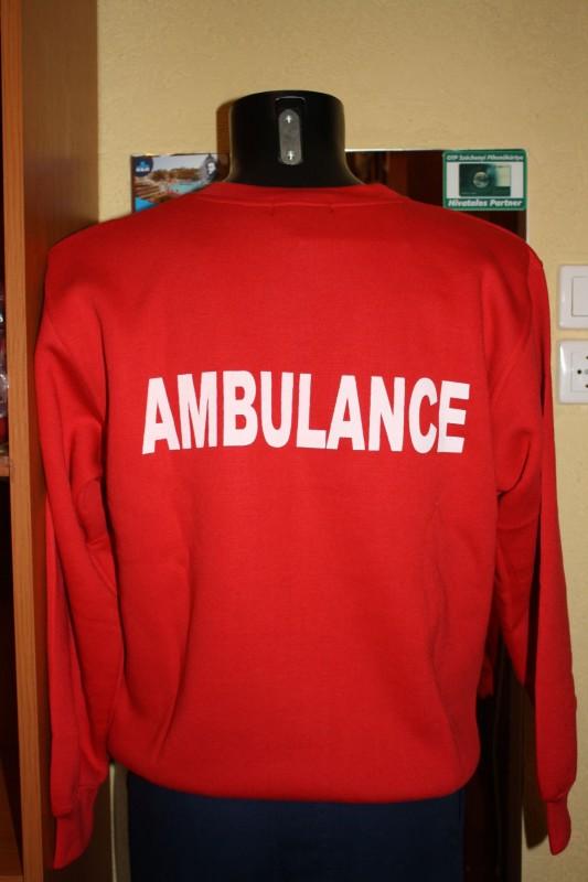JuNo-BaLa Munkaruházat - Piros környakas Ambulance pulóver 016fee661e